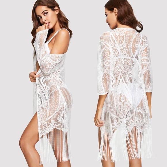 Galahaus Swim Salemargot White Lace Kimono Cover Up Poshmark